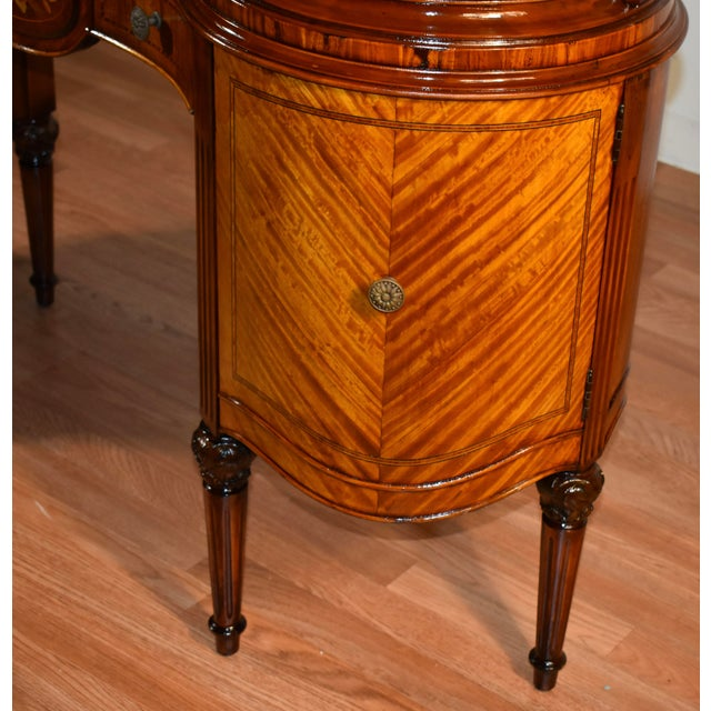 Brown 1900s Antique French Louis XVI Satinwood & Walnut Inlay Vanity For Sale - Image 8 of 13