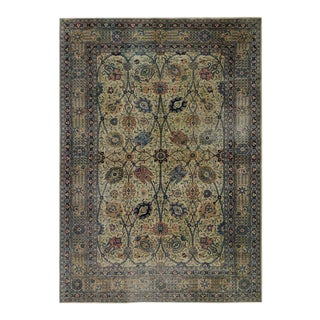 Distressed Antique Persian Tabriz Rug with Modern Industrial Style