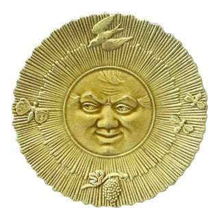 1880 Antique French Majolica Sun Wall Plate For Sale