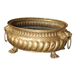 Antique Brass Repousse Jardiniere From France, Circa 1860 For Sale