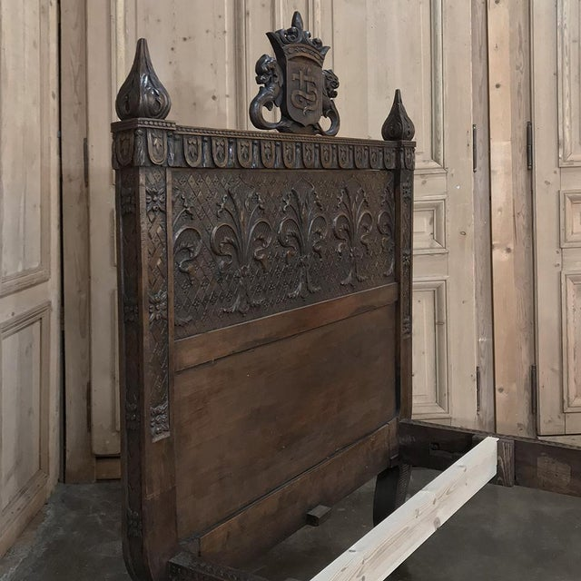 Late 19th Century 19th Century Italian Florentine Hand-Carved Walnut Bed For Sale - Image 5 of 13