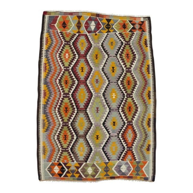 "Handwoven Vintage Decorative Colourful Turkish Kilim Area Rug - 5'4"" x 7'5"" For Sale"