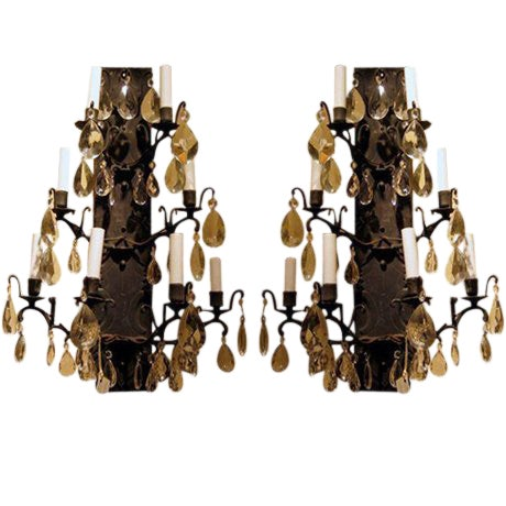 Pair of Wrought Iron and Crystal Wall Sconces Early 20th C. For Sale