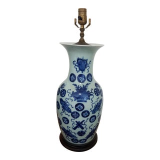 1920s Chinese Hand Painted Blue and White Porcelain Vase Mounted Table Lamp For Sale