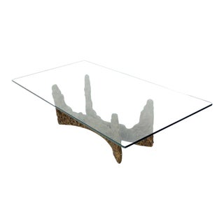 Heavy Cast Metal Brutalist Style Base and Glass Top Coffee Table For Sale