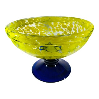 1980's Large Murano Speckled Art Glass Pedestal Bowl For Sale