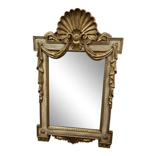 Mid 20th Century French Louis XVI Style Gilt & Cream Painted Draped Swag and Shell Mirror For Sale