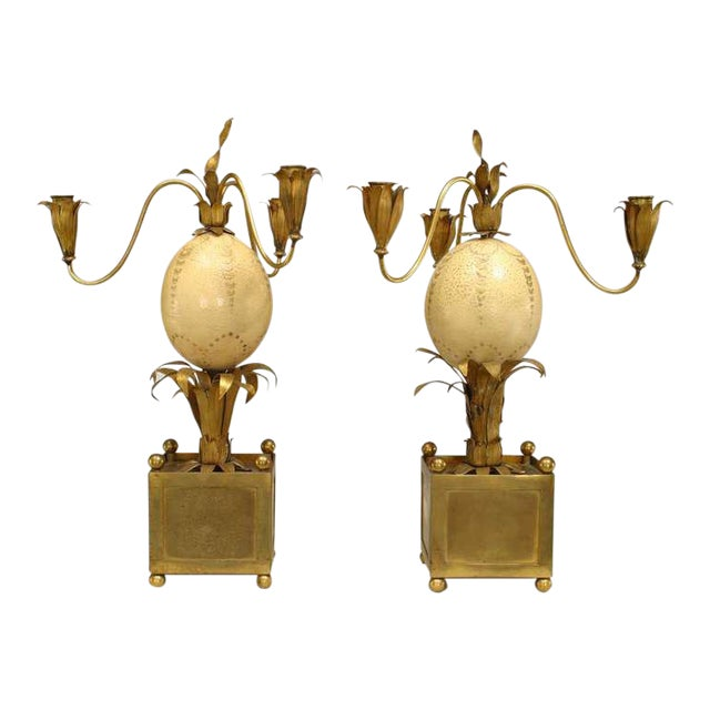 Pair of 1940s French Palm Inspired Ostrich Egg Candelabra For Sale