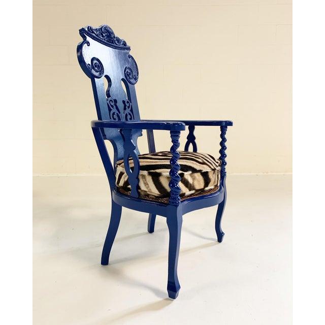 Renaissance Revival Armchair With Zebra Hide Cushion For Sale - Image 4 of 7