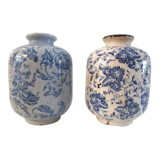 Chinese Floral Pottery Vases - a Pair For Sale