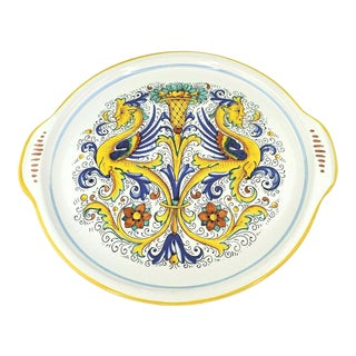 Late 20th Century Vintage Ceramica Nova Deruta Majolica Round Serving Platter For Sale