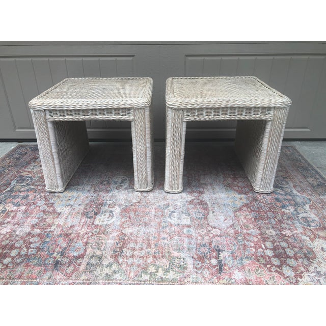 I can't even express how much I love these two tables. Absolutely amazing vintage white washed wicker. The braiding and...