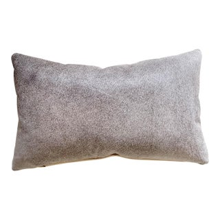 "Forsyth 13x21"" Salt and Pepper Gray Brazilian Cowhide Pillow For Sale"