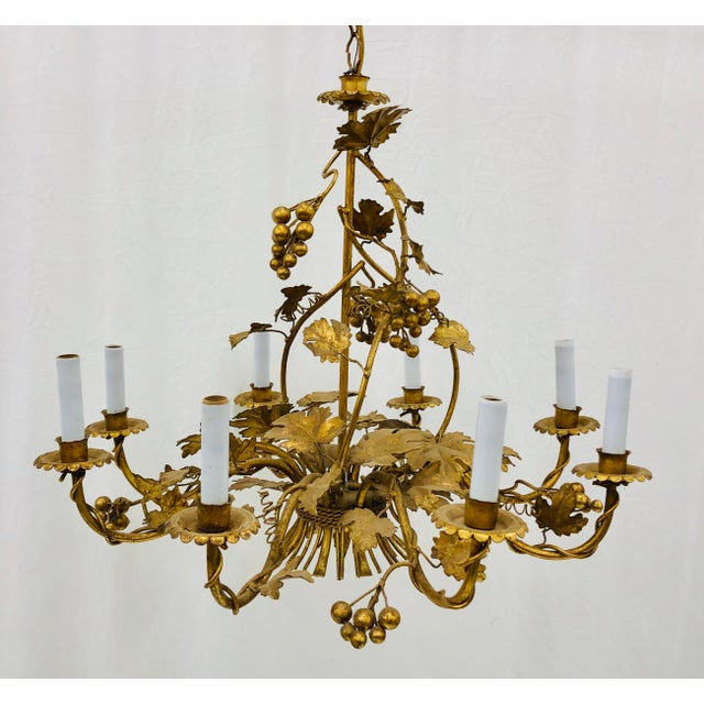 Stunning Antique Ivy Leaf & Berry Chandelier, French Gilt Tole. Eight Candle Lights Total. Beautiful Warm Gold Patina,...