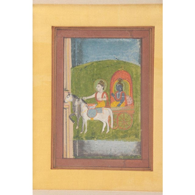 Asian Antique Krishna in Chariot Miniature Indian Painting For Sale - Image 3 of 10