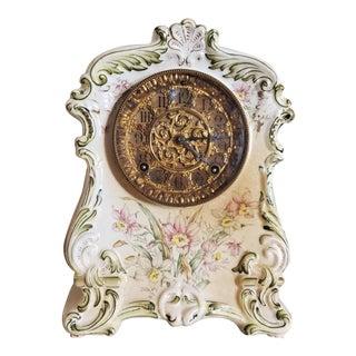 American Victorian Ansonia Porcelain Gilt Rococo Mantel Clock For Sale