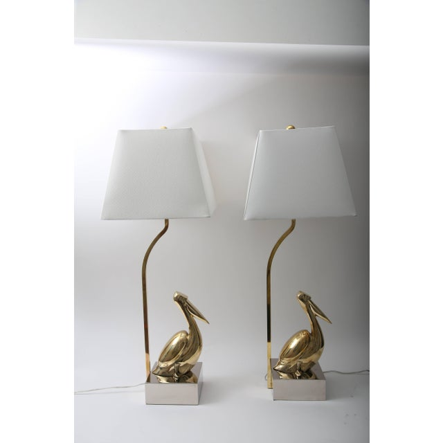 Mid 20th Century American Art Deco Revival Table Lamps With Figural Pelicans - a Pair For Sale - Image 5 of 11