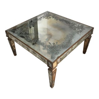 Antique Mirrored Beveled Coffee Table For Sale