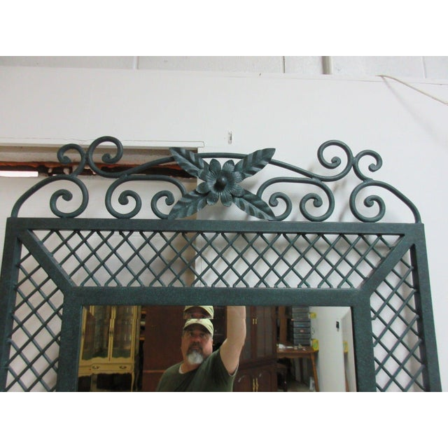Glass Ethan Allen Wrought Iron Glass Top Mirror & Console Table For Sale - Image 7 of 10