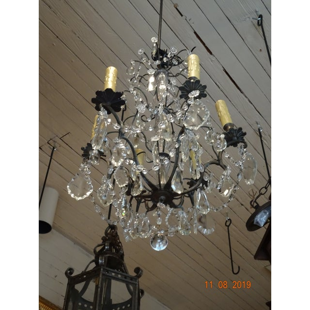Small Vintage French Crystal Chandelier For Sale - Image 12 of 13