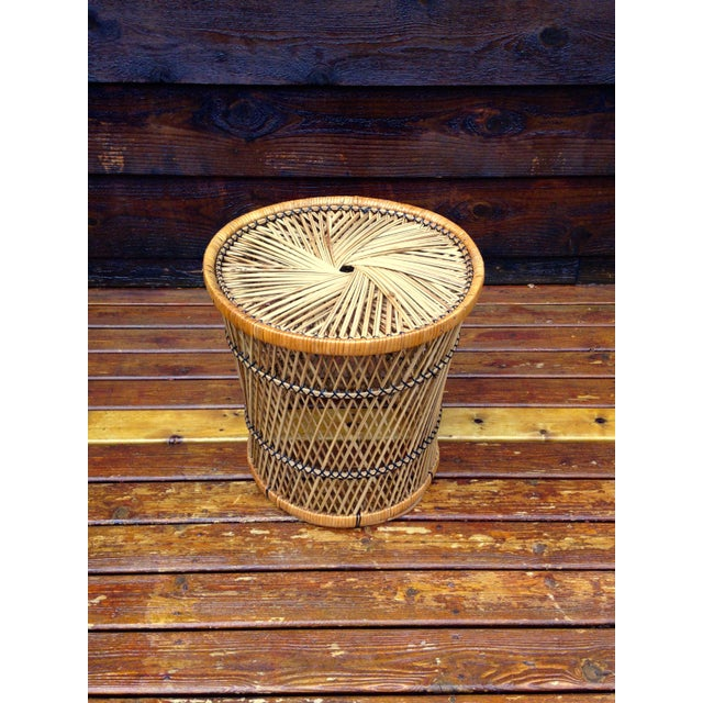 Vintage Wicker Side Table - Image 2 of 5