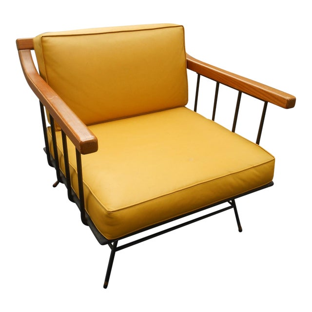 1960s Vintage Mid-Century Modern Maple & Iron Lounge Chair For Sale