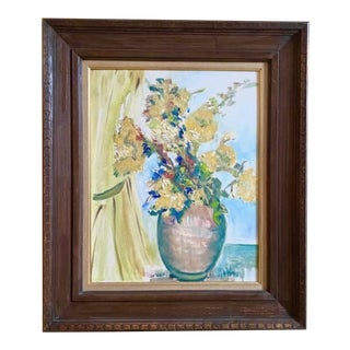 Mid Century Oil Painting - Yellow Curtains, Signed and Framed For Sale