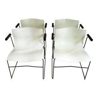 Vintage Massimo and Lella Vignelli for Knoll Handkerchief Arm Chairs -Set of 4 For Sale