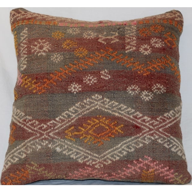 Red and Gray Vintage Handmade Wool Boho Pillow - Image 7 of 8
