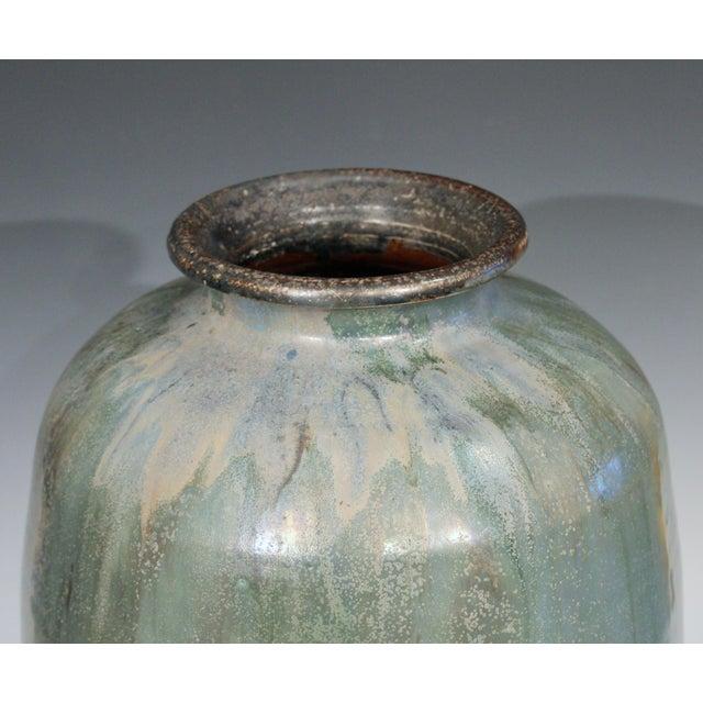 Ceramic 1930s Roger Guerin French Belgian Studio Art Pottery Crystalline Iridescent Glaze Vase For Sale - Image 7 of 11