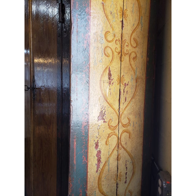 Rustic Rustic Hand Painted Arch Top Armoire For Sale - Image 3 of 13