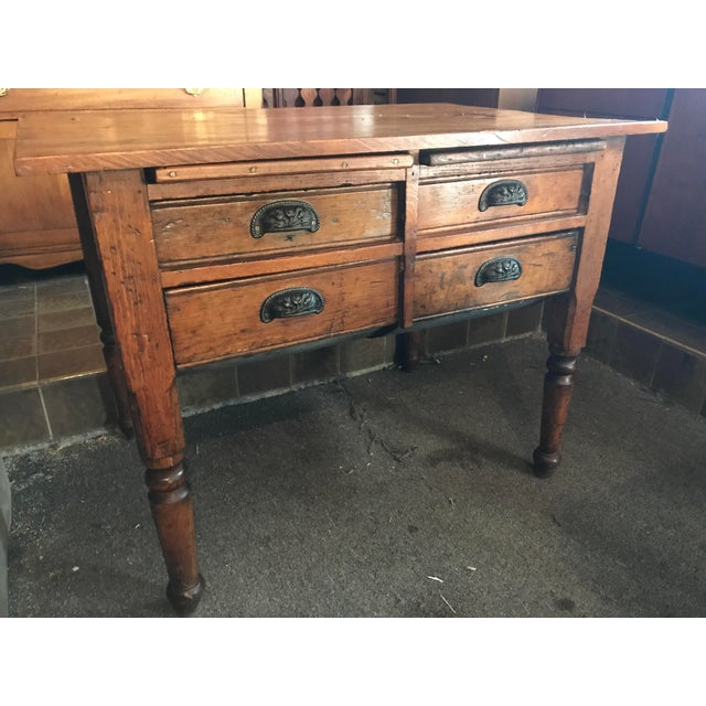 Country Antique Oak Feed Table For Sale - Image 3 of 8