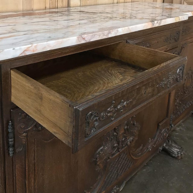 Gray 19th Century French Louis XIV Marble Top Buffet For Sale - Image 8 of 13