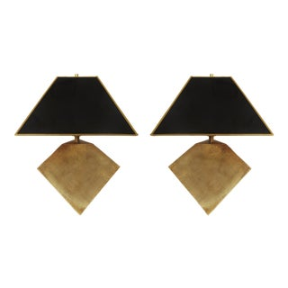Pair of Geometric Form Sculptural Brass Lamps Manner of Gabriella Crespi For Sale