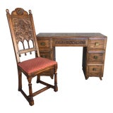 Image of Jamestown Lounge Feudal Oak Writing Desk and Chair - 2 Pieces For Sale