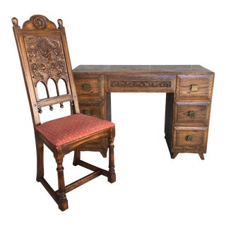 Jamestown Lounge Feudal Oak Writing Desk and Chair - 2 Pieces For Sale