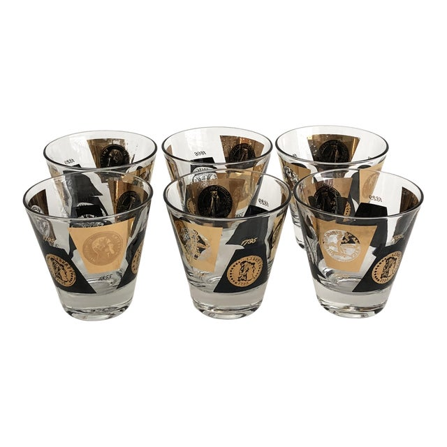 1960s American Classical Gold Leaf Shot Glasses- Set of 12 For Sale