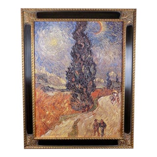 "Vincent Van Gogh ""Cypresses and Two Figures"" Museum Shop Brushstrokes Collection Print For Sale"