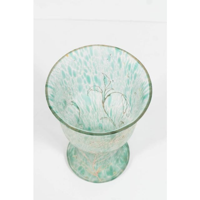 This gorgeous Art Nouveau handblown glass vase features a mottled pattern throughout, consisting of a constellation of...