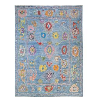 Modern Tulu Handmade Geometric Blue Wool Rug For Sale