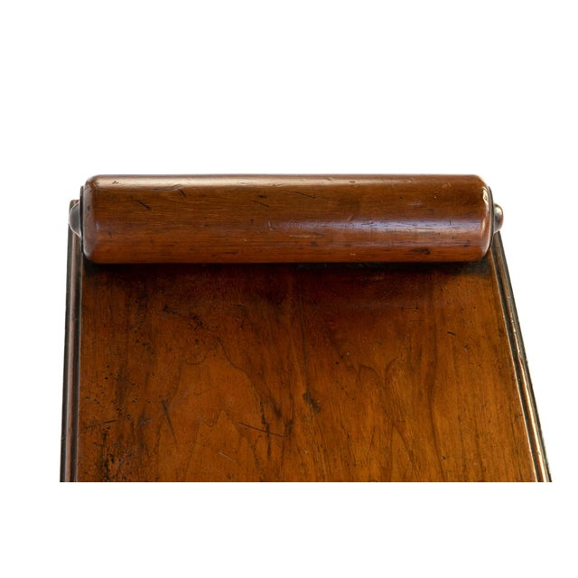 Brown Victorian Mahogany Hall Bench With Carved Bolster Arm-Rests; English, Circa 1870 For Sale - Image 8 of 10