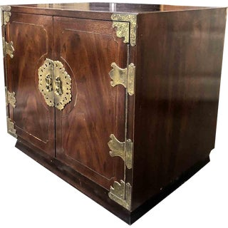 1970's Henredon Campaign Chinoiserie Nightstand For Sale