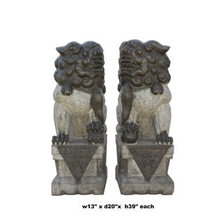 Pair Chinese Gray Black Stone Handcraved Foo Dog Feng Shui Statue Preview