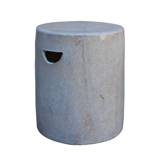 Chinese Ceramic Clay Mauve Beige Glaze Round Flat Column Garden Stool For Sale - Image 4 of 5