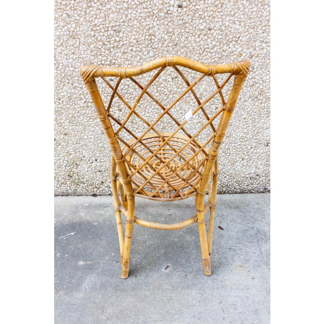 Vintage French Bamboo and Rattan Dining Chairs- Set of 8 For Sale - Image 4 of 13