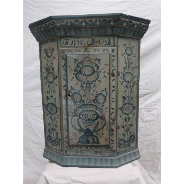 """This is a very rare """"TUNA"""" painted corner cabinet. The cabinet was painted in a small village in Sweden called """"Tuna""""..."""