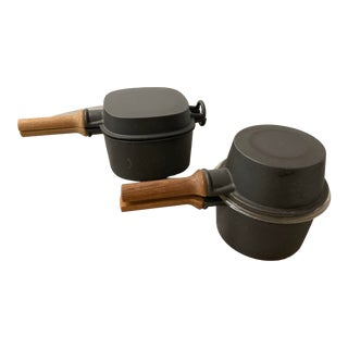 Vintage Dansk Quistgaard Orecast Iron Covered Pans With Wooden Handles- a Pair For Sale