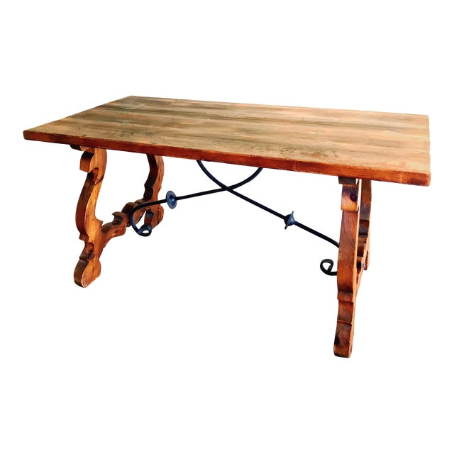 19th Century Spanish Trestle Table or Desk For Sale