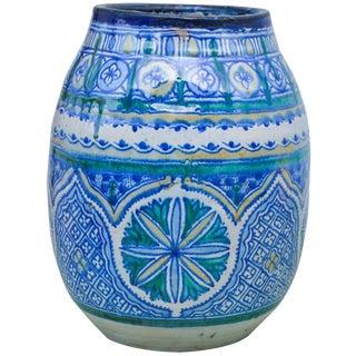 Antique Moroccan Blue Ceramic Vase For Sale
