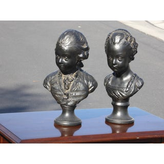 Vintage Victorian Style Boy & Girl Bust Sculptures / Bookends - a Pair Preview